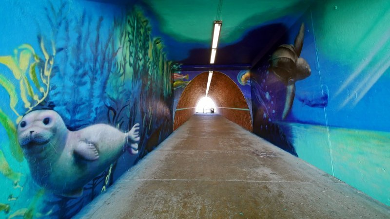 Looking from one end of the Saltdean Lido tunnel to the other with clear view of sealife mural painted on walls