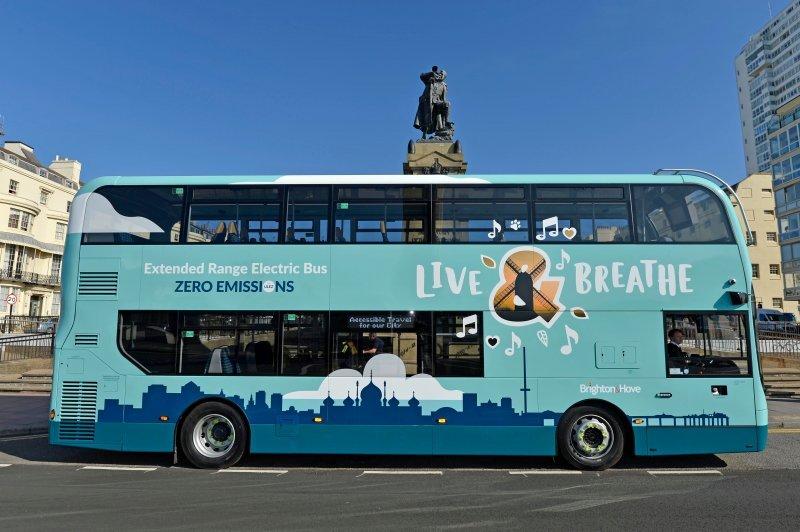 Electric Brighton & Hove bus by Regency Square in Brighton