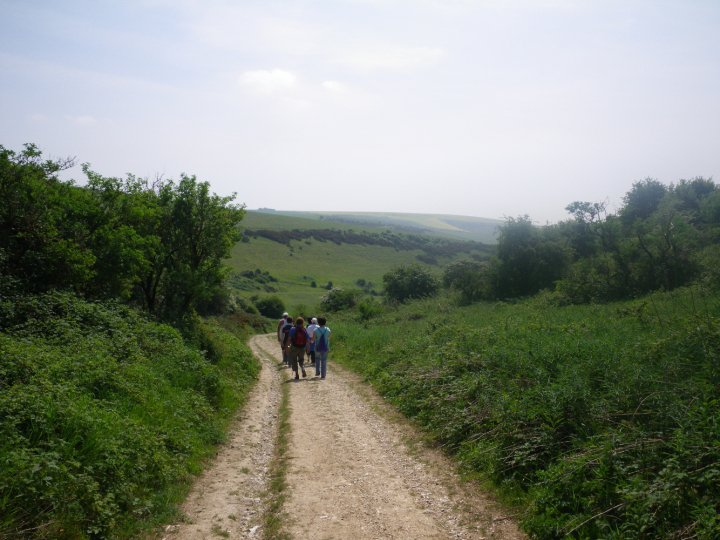 People walking up hil on South Downs