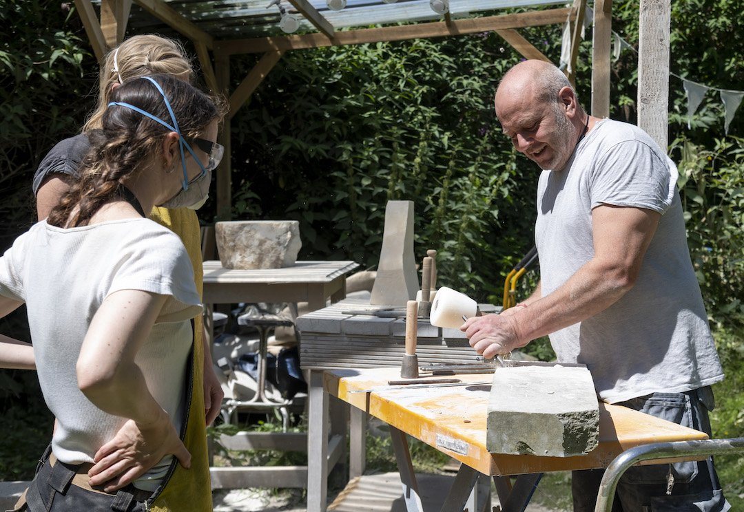 Stone sculptor Mark Stonestreet from The Stone Carving Studio – Stanmer Organics