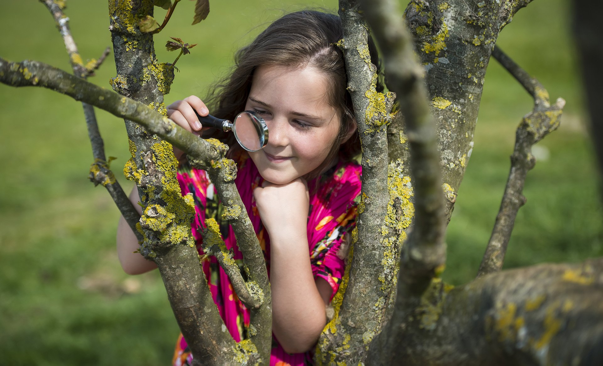 Photo by Liz Finlayson/Vervate The Living Coast, the Brighton & Lewes Downs UNESCO Biosphere Region includes land and sea from Shoreham to Newhaven.  Telscombe Tye - Youngsters using a magnifying glass