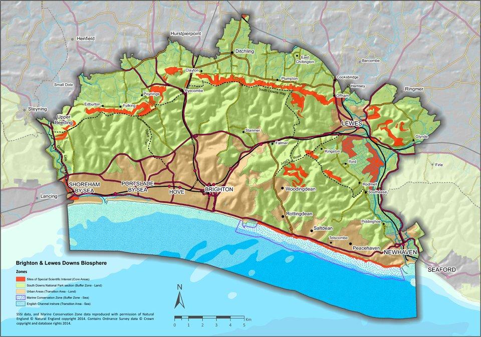 Brighton & Lewes Downs Biosphere map
