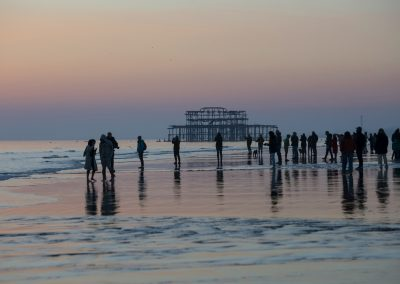 Photo by Liz Finlayson/Vervate The Living Coast, the Brighton & Lewes Downs UNESCO Biosphere Region includes land and sea from Shoreham to Newhaven. Brighton Pier with the West Pier in the background during a murmuration