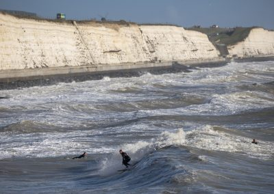 Photo by Liz Finlayson/Vervate The Living Coast, the Brighton & Lewes Downs UNESCO Biosphere Region includes land and sea from Shoreham to Newhaven. Surfers near Brighton Marina